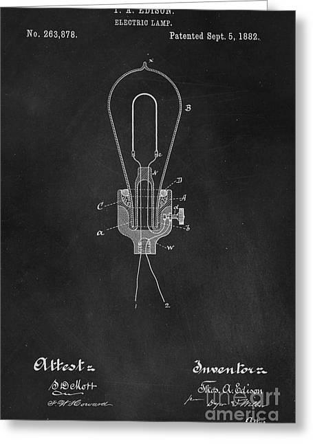 Thomas Greeting Cards - Edison Light Bulb Patent Art Chalkboard Greeting Card by Edward Fielding
