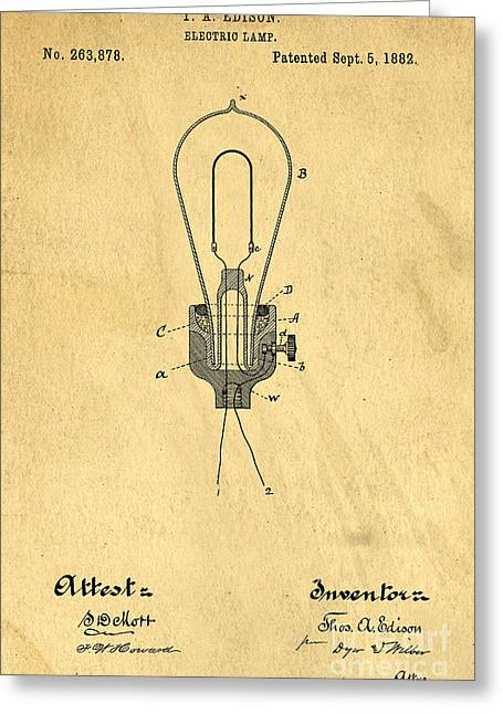 Edison Greeting Cards - Edison Light Bulb Patent Art Greeting Card by Edward Fielding