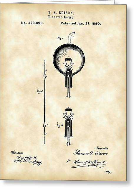 Old Light Bulb Greeting Cards - Edison Light Bulb Patent 1880 - Vintage Greeting Card by Stephen Younts