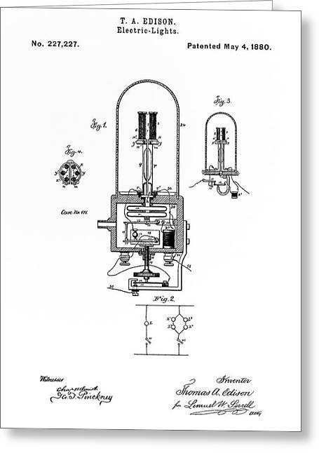 Edison Greeting Cards - EDISON LIGHT BULB PATENT White 1880 Greeting Card by Daniel Hagerman