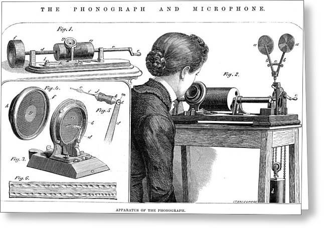 Edison Greeting Cards - Edison: Phonograph, 1878 Greeting Card by Granger
