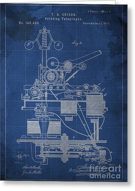 Edison Greeting Cards - Edison Printing Telegraphs Patent Blueprint 2 Greeting Card by Pablo Franchi