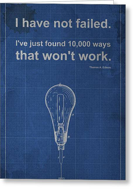 Edison Greeting Cards - Edison Quote Incandescent Lamp Patent Blueprint Greeting Card by Pablo Franchi