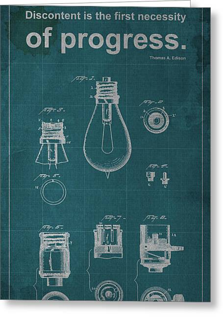 Edison Greeting Cards - Edison Quote Lamp Patent Blueprint Greeting Card by Pablo Franchi