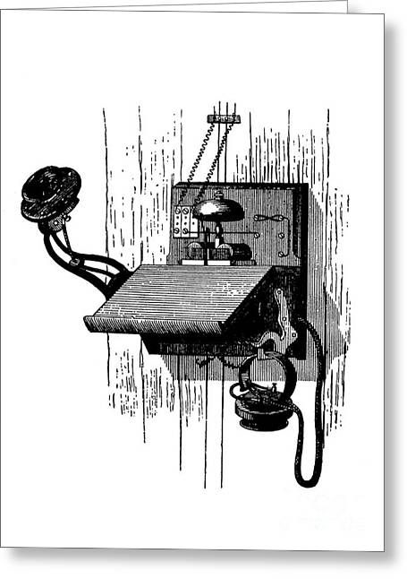 Edison Greeting Cards - Edison Telephone, 1880s Greeting Card by Bildagentur-online