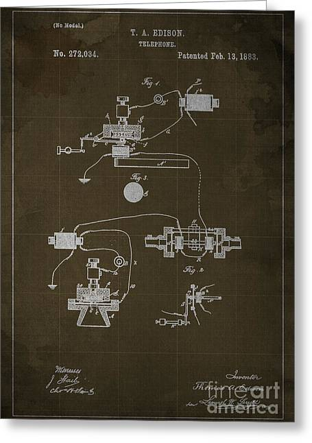 Edison Greeting Cards - Edison Telephone Patent Blueprint 1 Greeting Card by Pablo Franchi