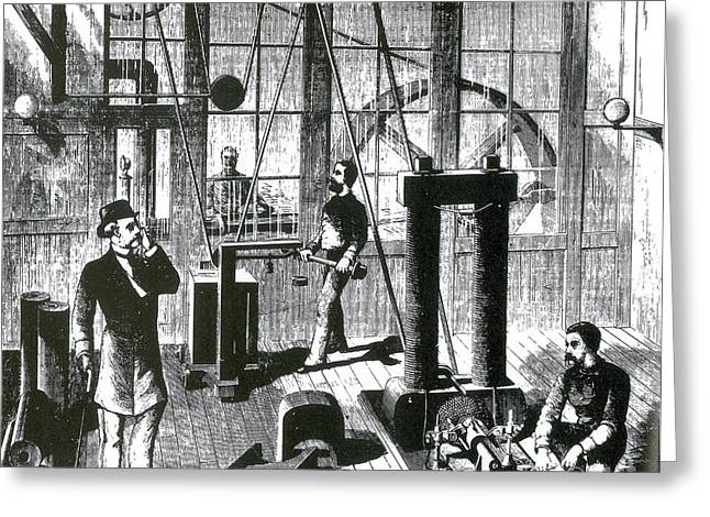 Edison Greeting Cards - Edisons Electric Generator, 1880 Greeting Card by Science Source