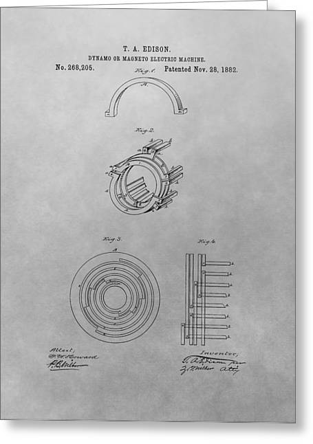 Dynamos Greeting Cards - Edisons Electric Generator Patent Drawing Greeting Card by Dan Sproul