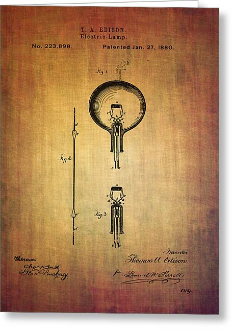 Edison Greeting Cards - Edisons electric lamp patent from 1880 vintage poster Greeting Card by Eti Reid