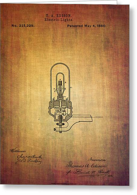 Edison Greeting Cards - Edisons electric light patent 1880 Greeting Card by Eti Reid