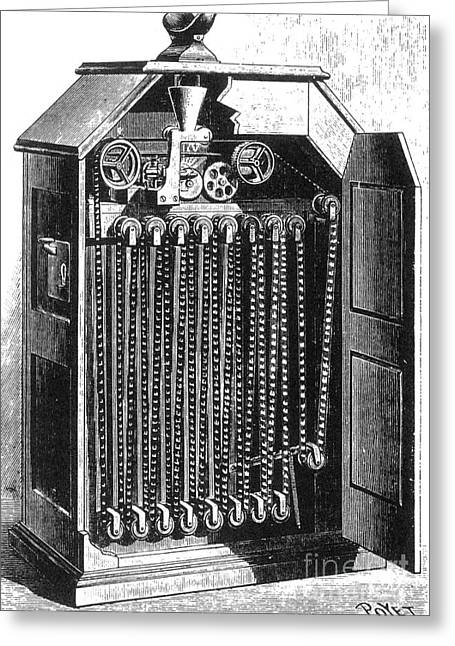 Edison Greeting Cards - Edisons Kinetoscope, 1895 Greeting Card by Science Source