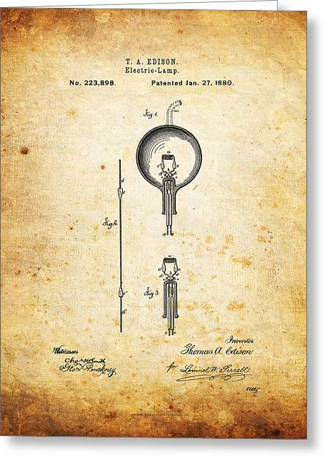 Best Sellers -  - Edison Greeting Cards - Edisons Patent Greeting Card by Ricky Barnard