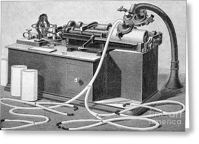 Edison Greeting Cards - Edisons Phonograph, 1880s Greeting Card by Bildagentur-online