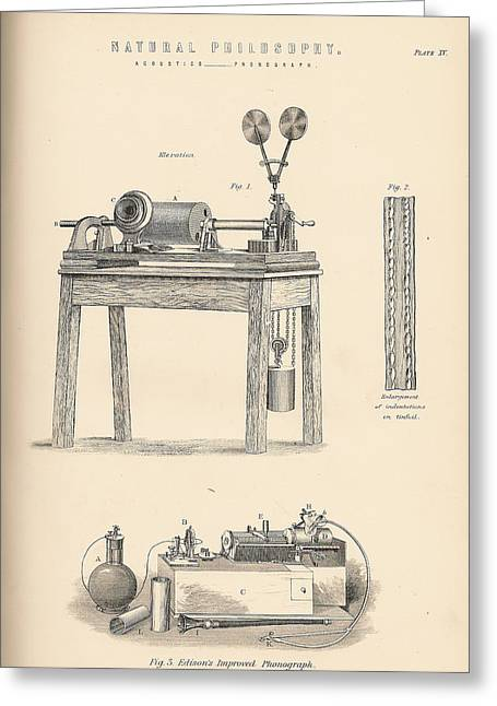Edison Greeting Cards - Edisons Phonograph Greeting Card by Nomad Art And  Design