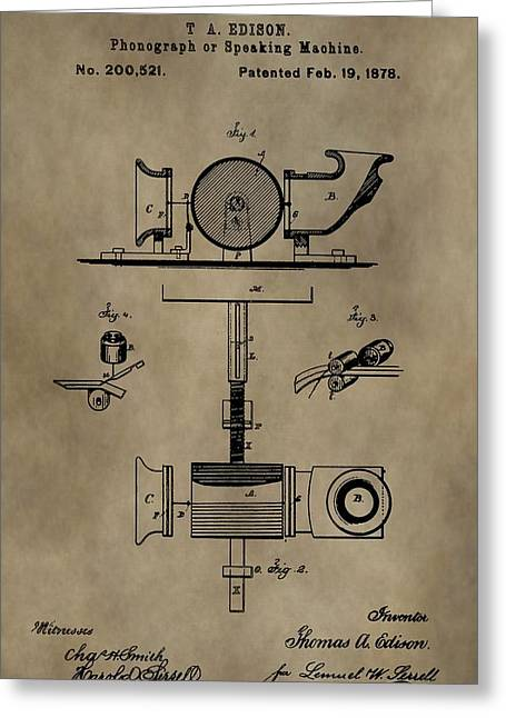 Thomas Alva Edison Greeting Cards - Edisons Phonograph Patent Greeting Card by Dan Sproul
