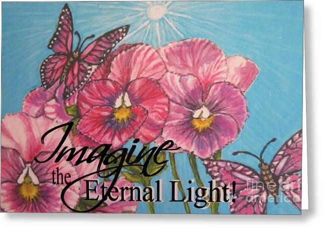 Pinks And Purple Petals Digital Art Greeting Cards - Imagine the Eternal Light Pansy Pinwheels Receive the Light from the Son Greeting Card by Kimberlee  Baxter