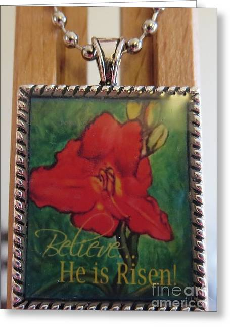 Flower Jewelry Greeting Cards - The Scarlet Lily Painting with an Inspirational Message in a Necklace Greeting Card by Kimberlee  Baxter