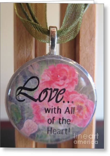 Heart Jewelry Greeting Cards - Touch of the Roses in a Resin Necklace Greeting Card by Kimberlee  Baxter