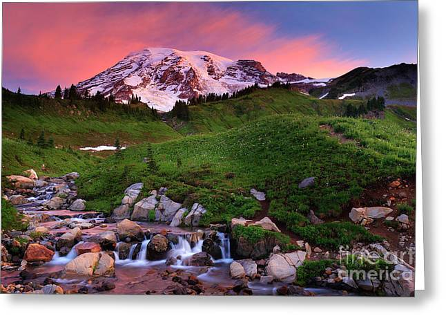 Spectacular Greeting Cards - Edith Creek Sunrise Greeting Card by Inge Johnsson