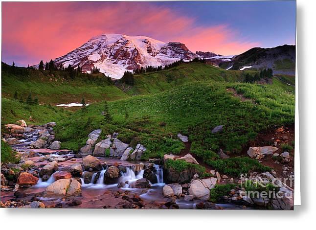Edith Creek Sunrise Greeting Card by Inge Johnsson