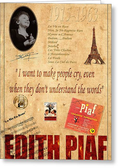 Edith Piaf Greeting Cards - Edith Piaf Greeting Card by Andrew Fare
