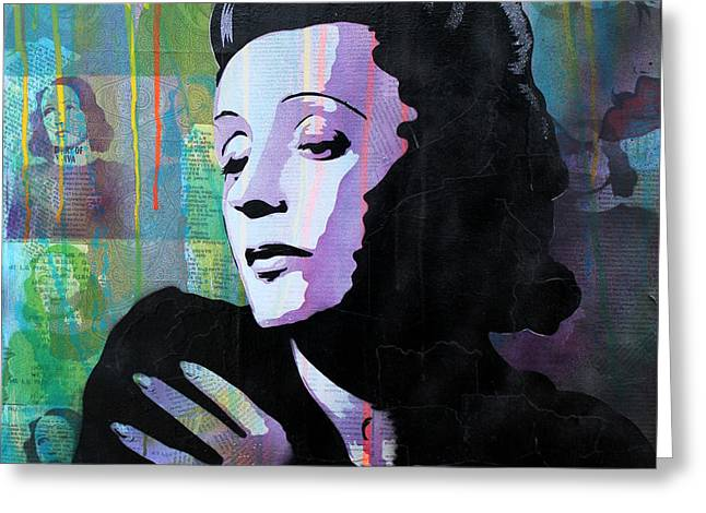 40s Paintings Greeting Cards - Edith Piaf Greeting Card by Josh Cardinali