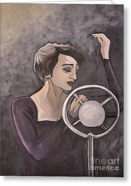 Edith Piaf Greeting Card by Reb Frost