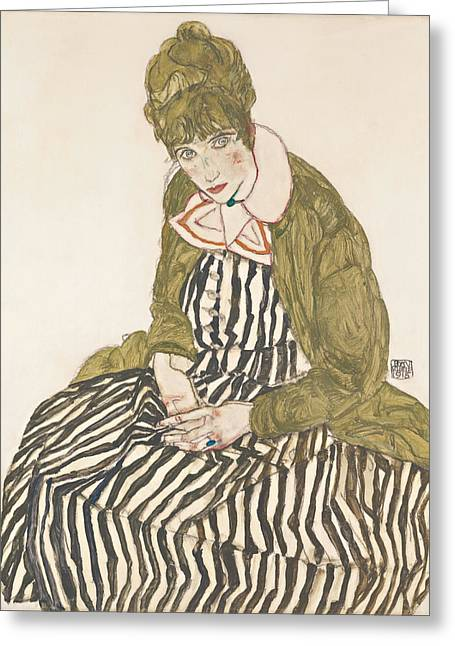 Distortion Paintings Greeting Cards - Edith with Striped Dress Sitting Greeting Card by Celestial Images