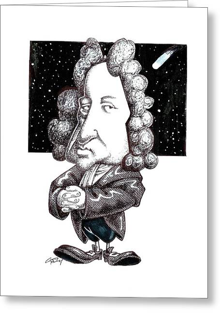 Royal Art Greeting Cards - Edmond Halley, caricature Greeting Card by Science Photo Library