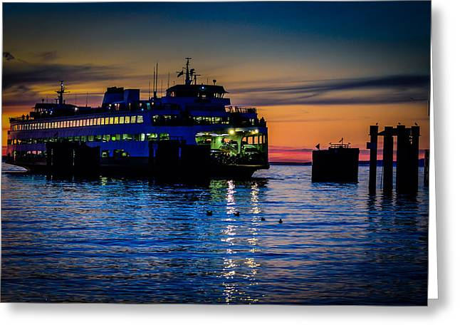 Sunset Prints Greeting Cards - Edmonds Washington State Ferry Terminal Greeting Card by Puget  Exposure