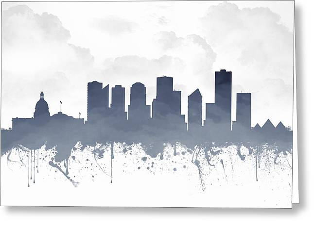 Edmonton Greeting Cards - Edmonton Alberta Skyline - Blue 03 Greeting Card by Aged Pixel