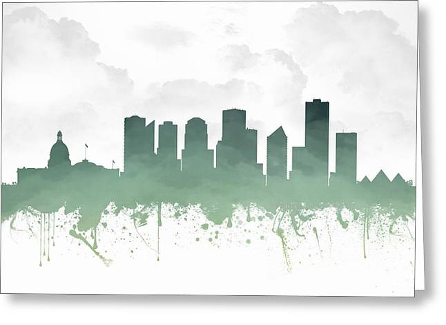 Canada Mixed Media Greeting Cards - Edmonton Alberta Skyline - teal 03 Greeting Card by Aged Pixel