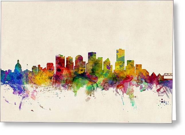 Skyline Greeting Cards - Edmonton Canada Skyline Greeting Card by Michael Tompsett