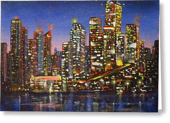 Telus Greeting Cards - Edmonton Night Lights Greeting Card by Mohamed Hirji