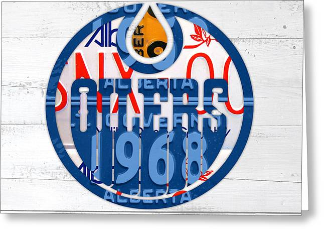 Edmonton Greeting Cards - Edmonton Oilers Hockey Team Retro Logo Vintage Recycled Alberta Canada License Plate Art Greeting Card by Design Turnpike