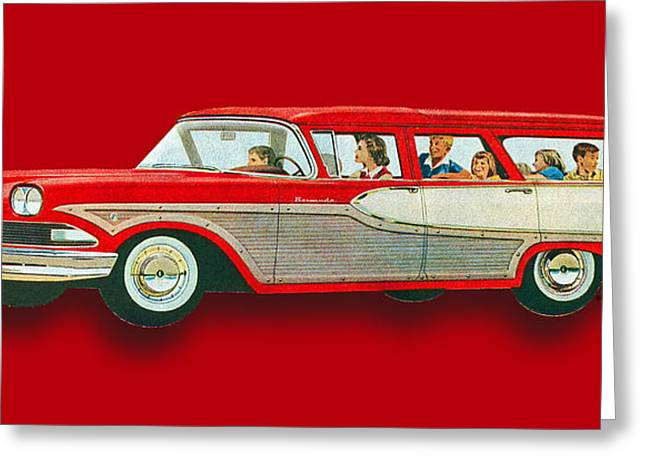 Wagon Mixed Media Greeting Cards - Edsel Car Advertisement Wagon Red Greeting Card by Tony Rubino
