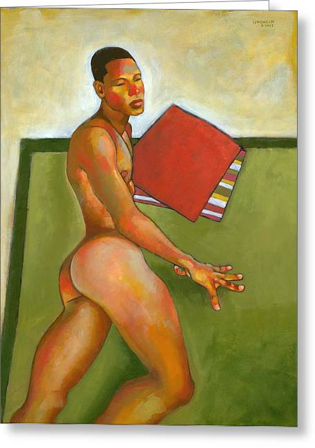 Male Figure Greeting Cards - Eduardo on Green Blanket Greeting Card by Douglas Simonson