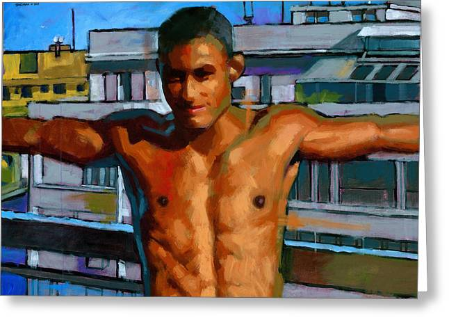 Male Figure Greeting Cards - Eduardo on the 12th Floor Greeting Card by Douglas Simonson