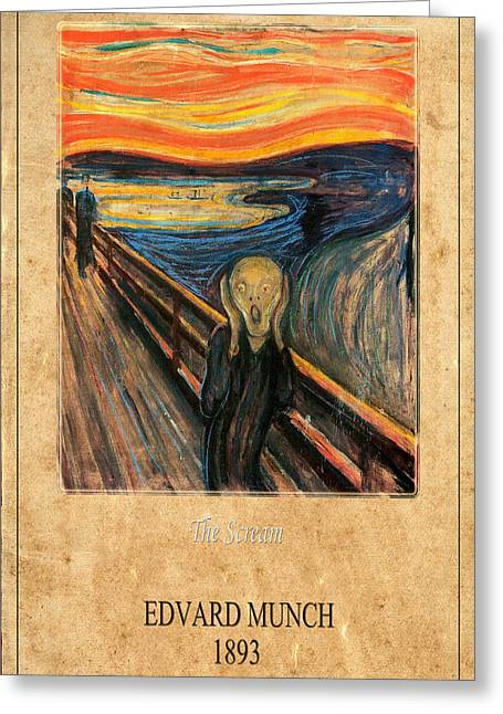 The Scream Greeting Cards - Edvard Munch 1 Greeting Card by Andrew Fare
