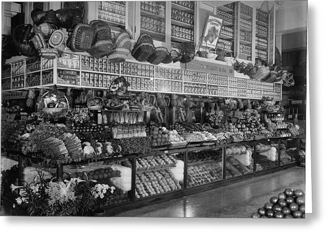 Grocery Store Greeting Cards - Edw. Neumann, Broadway Market, Detroit, Michigan, C.1905-15 Bw Photo Greeting Card by Detroit Publishing Co.
