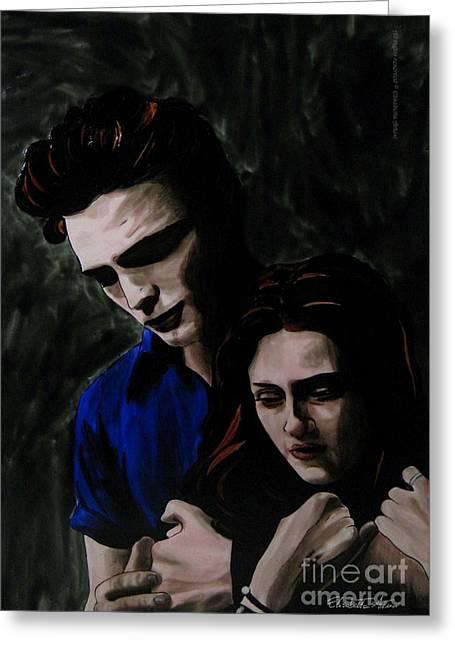 Twilight Glass Art Greeting Cards - Edward and Bella Greeting Card by Betta Artusi