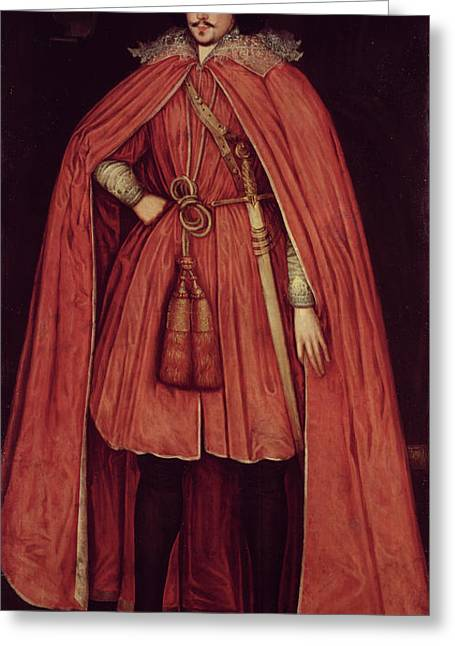 Full-length Portrait Greeting Cards - Edward Herbert, Lord Herbert Of Cherbury, C.1604 42 Oil On Canvas Greeting Card by Robert Peake