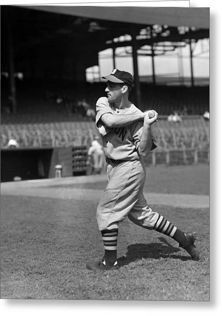 Baseball Game Greeting Cards - Edward R. Eddie Miller Greeting Card by Retro Images Archive