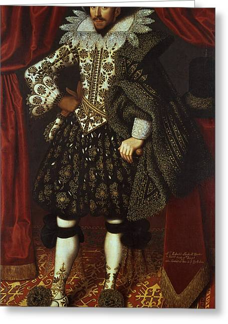 Full-length Portrait Photographs Greeting Cards - Edward Sackville, 4th Earl Of Dorset 1590-1652, 1613 Oil On Canvas Greeting Card by William Larkin