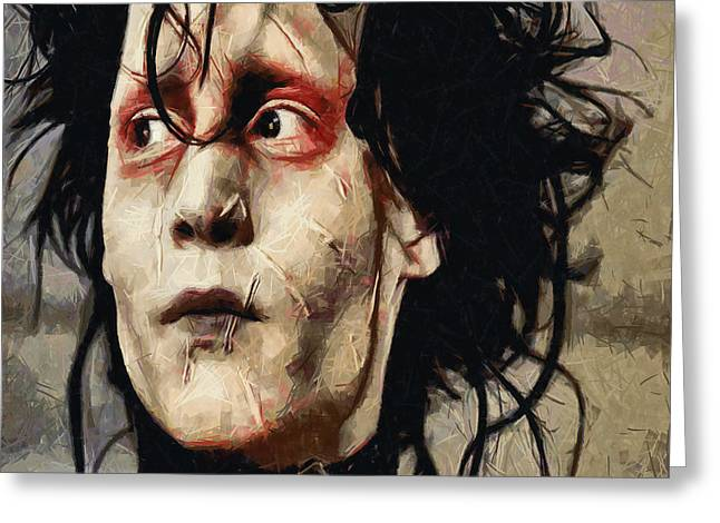 Johnny Depp Poster Greeting Cards - Edward Scissorhands  Greeting Card by Joe Misrasi