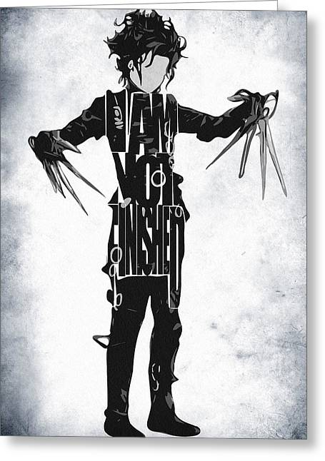 Johnny Depp Poster Greeting Cards - Edward Scissorhands - Johnny Depp Greeting Card by Ayse Deniz