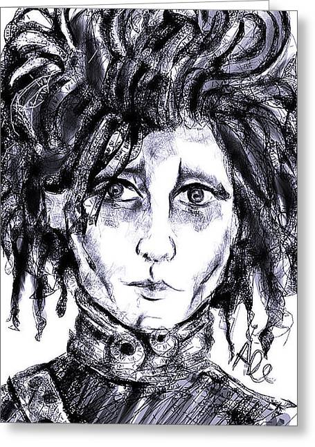 Burton Drawings Greeting Cards - Edward Scissorhands phone sketch Greeting Card by Alessandro Della Pietra