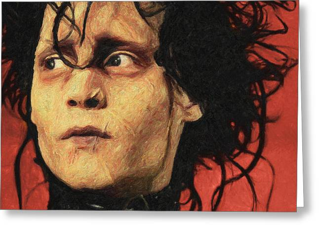 Johnny Depp Poster Greeting Cards - Edward Scissorhands Greeting Card by Taylan Soyturk