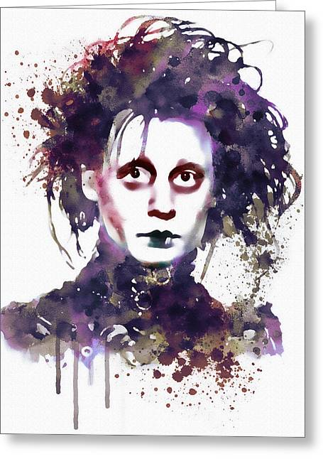 Depp Greeting Cards - Edward Scissorhands watercolor Greeting Card by Marian Voicu