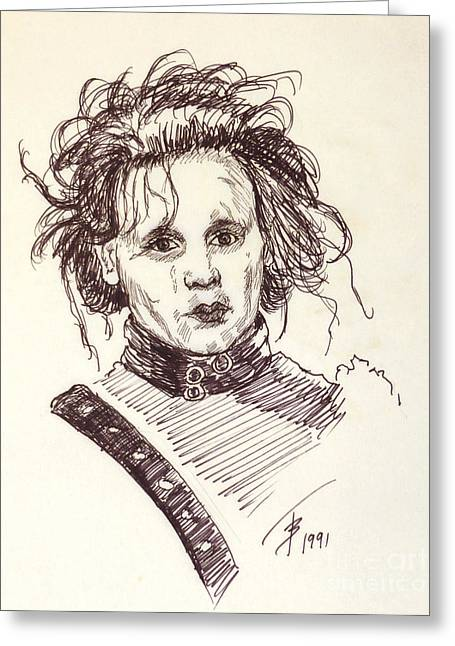 Johnny Depp Poster Greeting Cards - Edward Sissorhands Greeting Card by Art By - Ti   Tolpo Bader
